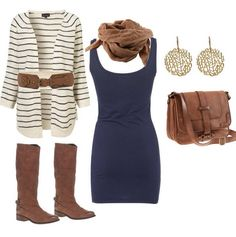 Navy dress with cardigan #fashion #spring #outfit