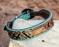 Personalized Dog Collar Custom Dog Collar Leather Dog Collar Navajo Dog Collar Turquoise Dog Collar Western Dog Collar