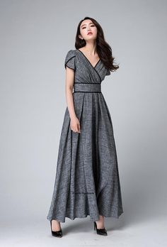 EMPIRE WAISTS LOOK GREAT but with a little longer sleeves to cover flabby arms! Gray maxi dress empire waist dress Garden party dress by xiaolizi