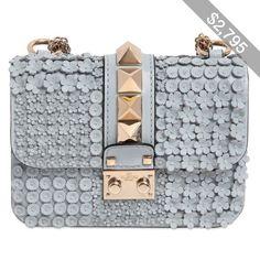 Valentino Women Mini Lock Flower Leather Shoulder Bag