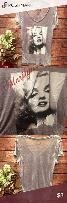 Marilyn Monroe Burnout Tee Worn once. Great condition. Very thin burnout material. Tops Tees - Short Sleeve