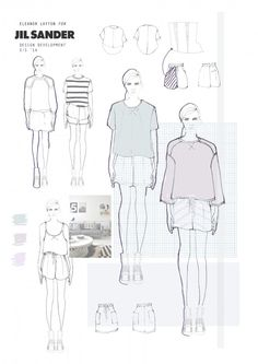 Fashion Portfolio - Jil Sander project, fashion design development board - fashion illustration; fashion sketchbook // Eleanor Layton