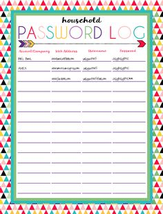 Free Printable Password Log | Three Designs & Instant Downloads | A part of a month of organizational printables at ishouldbemoppingthefloor.com. Password Printable, Printable Planner, Free Printables, Budget Planner, Life Planner, Happy Planner, Binder Organization, Organizer Planner, Organizing Ideas