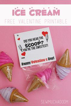 Ice Cream Valentine Free Printable - Sew Much Ado