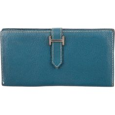 Pre-owned Herm?s Chevre Coromandel Bearn Wallet (77.275 RUB) ❤ liked on Polyvore featuring bags, wallets, blue, hermes wallet, blue bag, blue leather wallet, blue leather bag and genuine leather bags