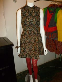Floral jacquard dress with maroon tights