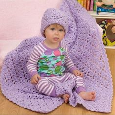 How cute is this crochet purple blanket and hat for baby. I'm loving this and best of all its an easy one made with one ball of yarn. beginner friendly.