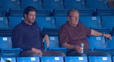 Former Blue Jays pitcher Jason Grilli watches the game from the stands | Offside Rogers Centre, Man Sitting, American League, Toronto Blue Jays, Father And Son, The Man, All Star, Watches, Converse