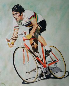 A steely look of determination in those eyes. How many days did Merckx wear the maglia rosa? (Eddy Merckx, watercolor on paper, DM for more details) Original Artwork, Original Paintings, Paris Roubaix, Bike Poster, Bicycle Art, Cycling Art, Sports Art, Vintage Bicycles, Watercolor Paintings