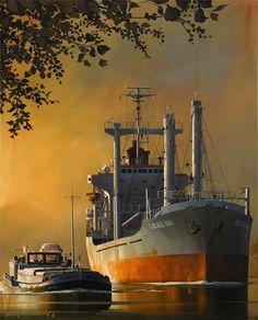 Mercante Kaleli Ana Islas Comores by Dirk Verdoorn Nautical Painting, Nautical Art, Ship Paintings, Seascape Paintings, Honfleur, Abandoned Ships, Merchant Navy, Train Art, Boat Art