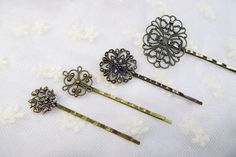 Antiqued Golden Brown Fancy Flower Bobby Pin by PAstoryShop, $16.00
