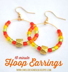 The Swell Life: 10 minute Hoop Earring DIY - teen crafts Diy And Crafts Sewing, Crafts To Sell, Diy Earrings, Hoop Earrings, Free Your Mind, Crafts For Teens, Teen Crafts, Craft Wedding, Perfume