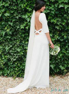 Simple elegant backless wedding dress with sleeves
