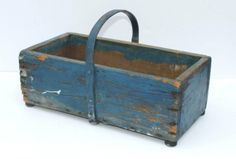 19thC country blue painted rectangular carrier