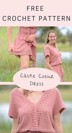The cache coeur free crochet dress pattern is an easy summer crochet dress. This beginner friendly boho crochet dress pattern is both comfy and elegant. Crochet Summer Dresses, Crochet Skirts, Crochet Clothes, Vintage Crochet Dresses, Crochet Summer Tops, Pull Crochet, Mode Crochet, Knit Crochet, Crochet Baby