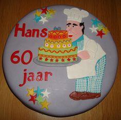 Een taart voor Hans zijn 60e verjaardag