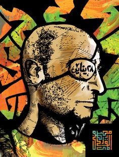"A Portrait of ""Ahmad Harāra"", an Egyptian Physician and a Political Activist, who during the Egyptian Revolution lost his right eye after being shot in it. Months later, he lost his left eye after being shot in it by the Police Security Forces. illustrated by Mostapha Alqammari"