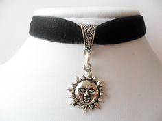 New to absolutemarket on Etsy: Velvet choker with silver tone sun flower pendant and a width of 1/2Black Leon Mathilda Natalie Portman Ribbon Choker Necklace (3.99 USD)