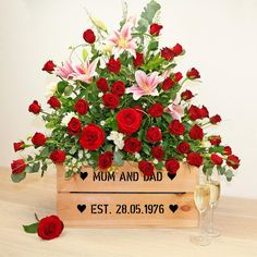 This lovely large personalised apple crate can be planted with a stunning selection of seasonal flowers in dark reds, specifically themed for a Ruby or 40th Wedding Anniversary.