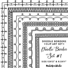 "Doodle Border Set #7Borders are designed to fit perfectly onto an 8.5x11"" piece of paper. Square versions - 9x9""Clip art made from scratch using Adobe Illustrator vector graphics. They have extremely crisp and clean edges.All frames come with a transparent background."