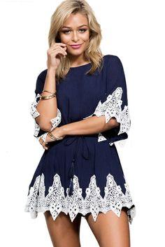Navy Blue Lace Applique Open Back Skater Dress 49f4fc392