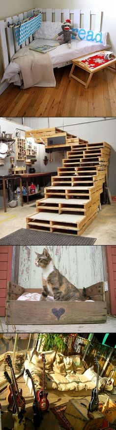 PET Beds. Couches. from. Pallets. LOVE THE SACK CUSHIONS, fill them with pine or cedar chip bedding for flea repelent pet bed. Step configuration would be great for cats.  Corner bed would work for dog. - created via http://pinthemall.net