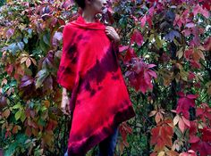 red hand dyed shawl,  warm winter wool scarf, artsy lambswool wrap, soft knitted overlay, red burgundy, colorful large scarf, gift OOAK 129 by AnnaDamzyn on Etsy