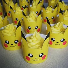 """Gotta catch em all #pokemon #pikachu #pikachucupcakes #anime #cupcakes #vanilla #baking #birthday #cake #desserts #decorations #icing #frosting #sugar…"""