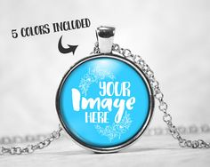 Circle pendant mockup template with round link chain.  Available in 5 different color metals