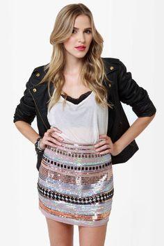Cute Taupe Skirt - Sequin Skirt - Mini Skirt - $71.00 interesting