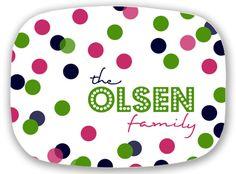 Personalized Melamine Platter - Custom Confetti Monogram Tray
