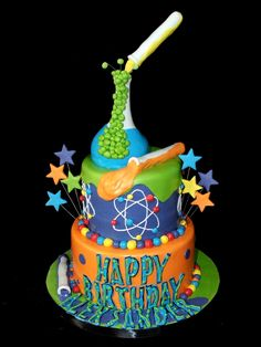 Science Cake... very cool! I love the colors & the design.