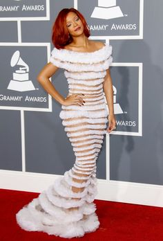 Pin for Later: The 50 Most Iconic Grammys Outfits of All Time Rihanna Rihanna's barely there Jean Paul Gaultier gown garnered a ton of attention in Style Rihanna, Rihanna Dress, Rihanna Mode, Rihanna Looks, Rihanna Fenty, Rihanna Red Carpet, Hollywood Red Carpet, Hollywood Glamour, Hollywood Actresses