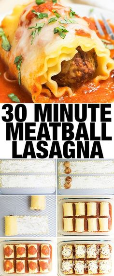 easy MEATBALL LASAGNA recipe made with fresh meatballs, marinara sauce, lots of cheese. This meatball lasagna roll ups is an easy weeknight meal and 30 minute dinner. Lasagne Roll Ups, Lasagna Rolls, Lasagna Recipe Roll Ups, Pizza Lasagna, Meatball Lasagna, Meatball Marinara, Meatball Meals, Meatball Recipes, Recipes With Meatballs