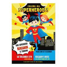 Superhero boy birthday party invitation - birthday cards invitations party diy personalize customize celebration