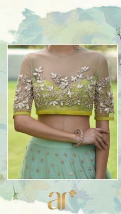 Crochet Casual Style Ideas That Will Make You Look - Charming Awesome Fashion Ideas From Crochet Casual Style Ideas Collection Is The Most Trending Fashion Outfit This Winter This Lovely Look Was Carefully Discovered By Our Fashion Designers And Def Indian Attire, Indian Ethnic Wear, Indian Dresses, Indian Outfits, Indian Clothes, Moda India, Net Blouses, Lehenga Blouse, Net Lehenga