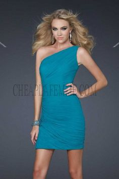 One Shoulder See Through Top Short Peacock La Femme 16959 Homecoming Dresses