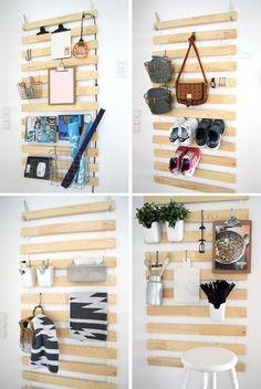 44 creative and easy diy furniture hacks diy ikea bed slats, Ikea Storage, Wall Storage, Hanging Storage, Storage Hacks, Bedding Storage, Ikea Organization, Hanging Organizer, Diy Hanging, Kitchen Storage