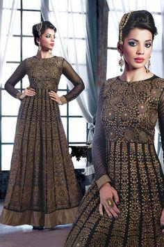 Mugdha Godse Black, Golden Georgette Designer Floor Touch Suit