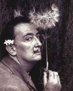 Salvador Dali with dandelion puff