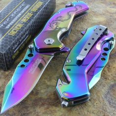 Tac-Force-AO-Titanium-Rainbow-Dragon-Assist-Rescue-Glass-Breaker-Pocket-Knife