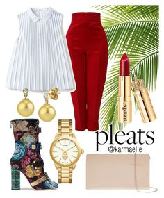 """""""Pleats"""" by karmaelle ❤ liked on Polyvore featuring Versace, Lacoste, Dolce&Gabbana, Tory Burch, Accessorize, pleats and polyvorecontest"""