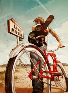 Illustration Musiker auf dem Rad musician by bicycle