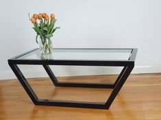 Glass & Steel Coffee Table by UrbanMetalworksUK on Etsy Welded Furniture, Iron Furniture, Steel Furniture, Furniture Design, Steel Coffee Table, Steel Table, Coffee Tables, Center Table Living Room, Coffee Table Design