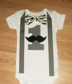 Mustache Birthday Outfit Cake Smash Outfit Baby by kottoncactus, $22.50