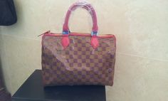 Louis Vuitton N41261 Prefall 2013 Damier Canvas Speedy 35 red. real shoot. $249+FREE shipping+on-line payment