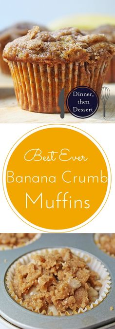 Banana Muffins {Best-Ever with Crumb on Top!} – Dinner, then Dessert Easy, buttery brown sugar crumb topped tender banana muffins. A quick delicious way to use up over-ripe bananas! Banana Muffin Recipe Easy, Banana Recipes, Muffin Recipes, Köstliche Desserts, Dessert Recipes, French Desserts, Banana Crumb Muffins, Banana Bread, Yummy Treats
