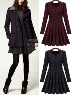 Korean Fashion Women Autumn Round Neck Long Sleeve Slim Thin Skater Short Dress