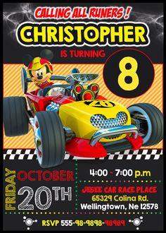 Invitación digital para Cumpleaños de Mickey Road Racer Team
