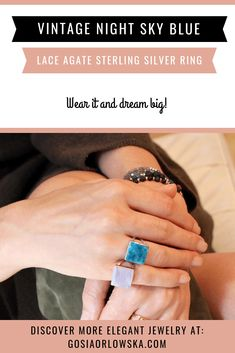 Spectacular Vintage Night Sky Blue Lace Agate Sterling Silver Ring  #agateringforwomen #vintagesilverring